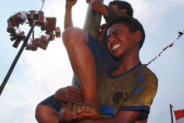 Panjat Pinang Jadi Tradisi Lebaran di Jambi