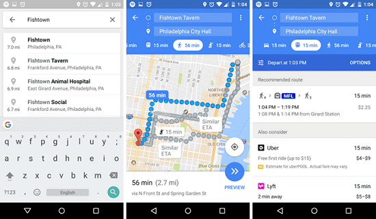 User Interface Google Maps
