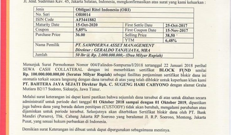 Sewa Cash Collateral PT Sampoerna Asset Management