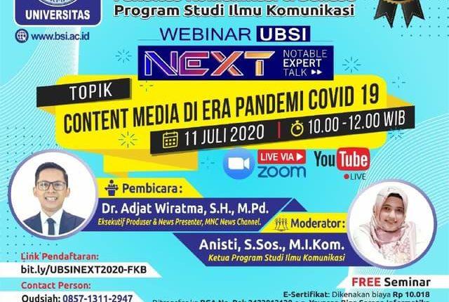 Prodi Ilkom di UBSI Siap Gelar Webinar Content Media – Wartawan